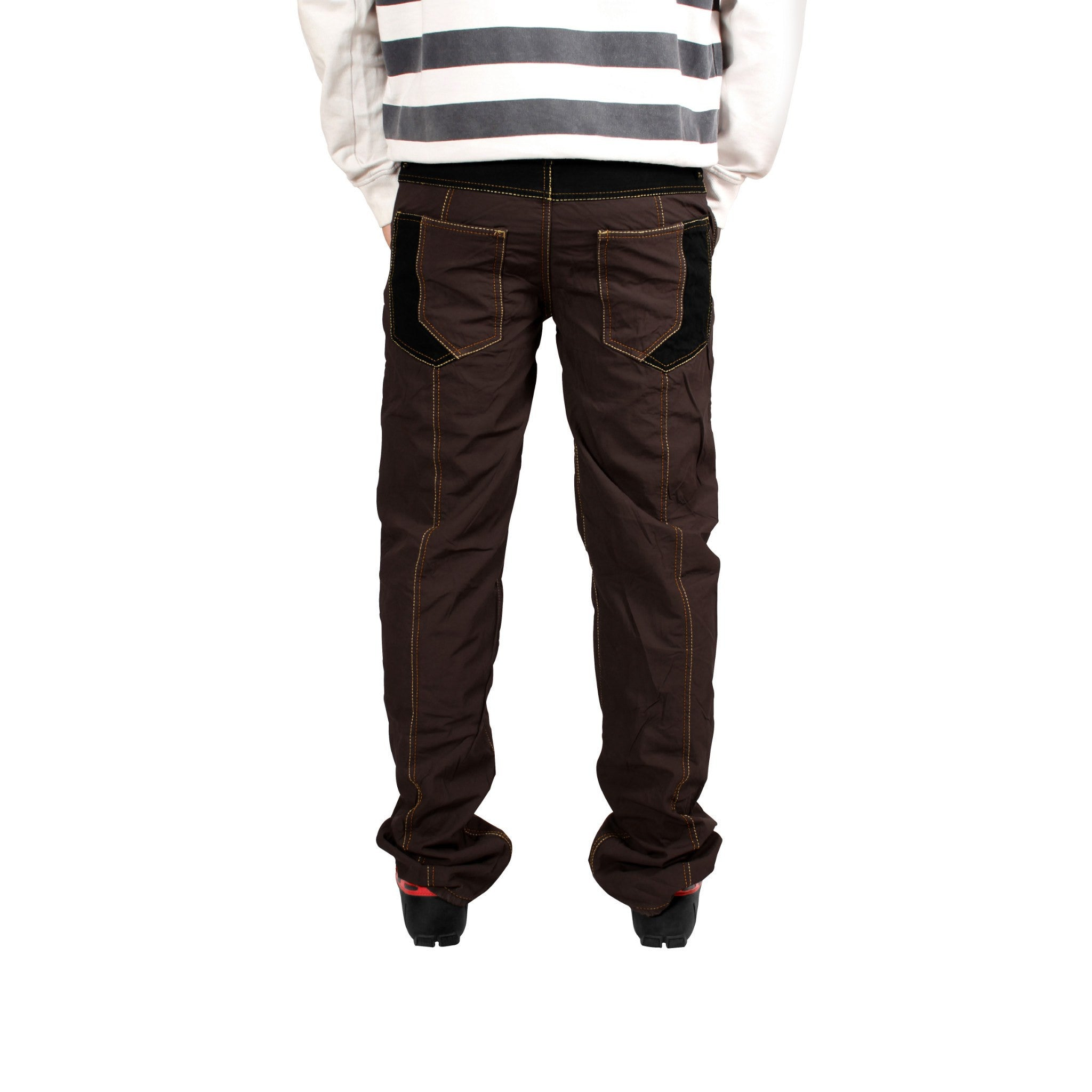 Coffee Brown Stripped Bonded Trouser - Über Urban Trouser