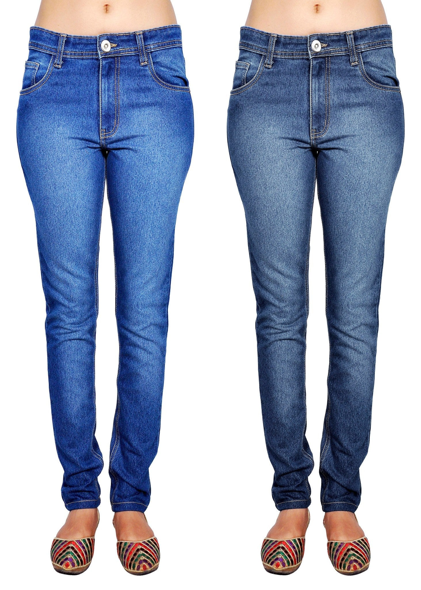 Shaded blue and dimgray slim fit jeans front view