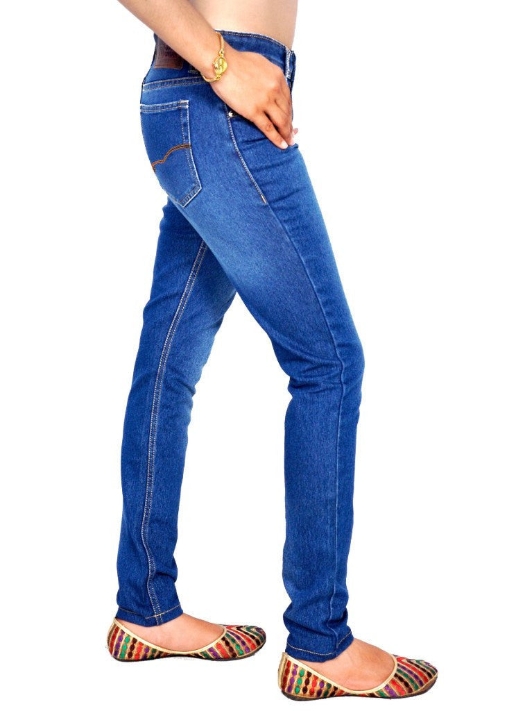 Shaded blue jeans right side view