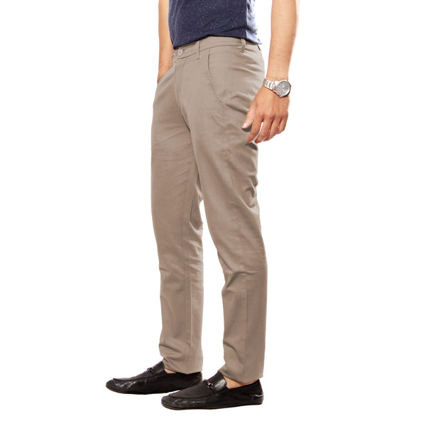 Uber Tan Grey Slim Fit Skeek Pant side view