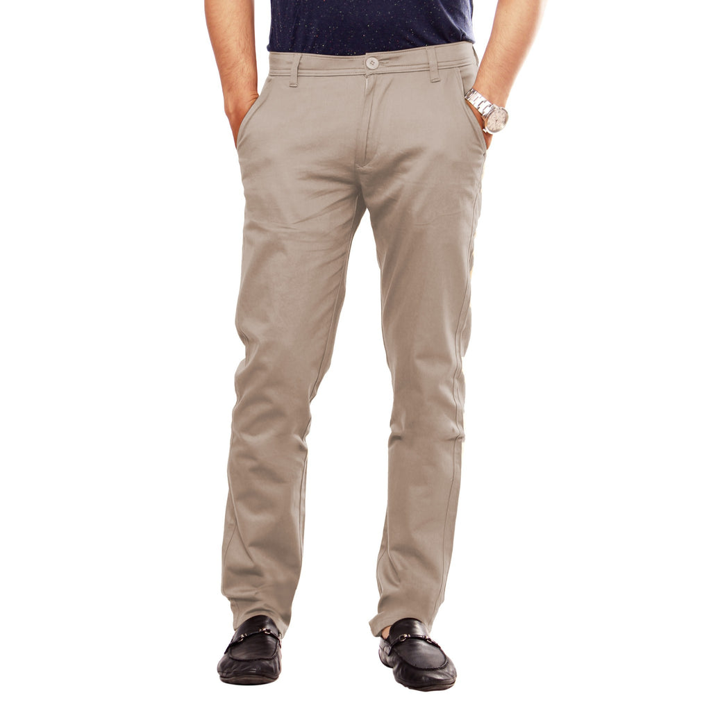 Uber Tan Grey Slim Fit Skeek Pant front view