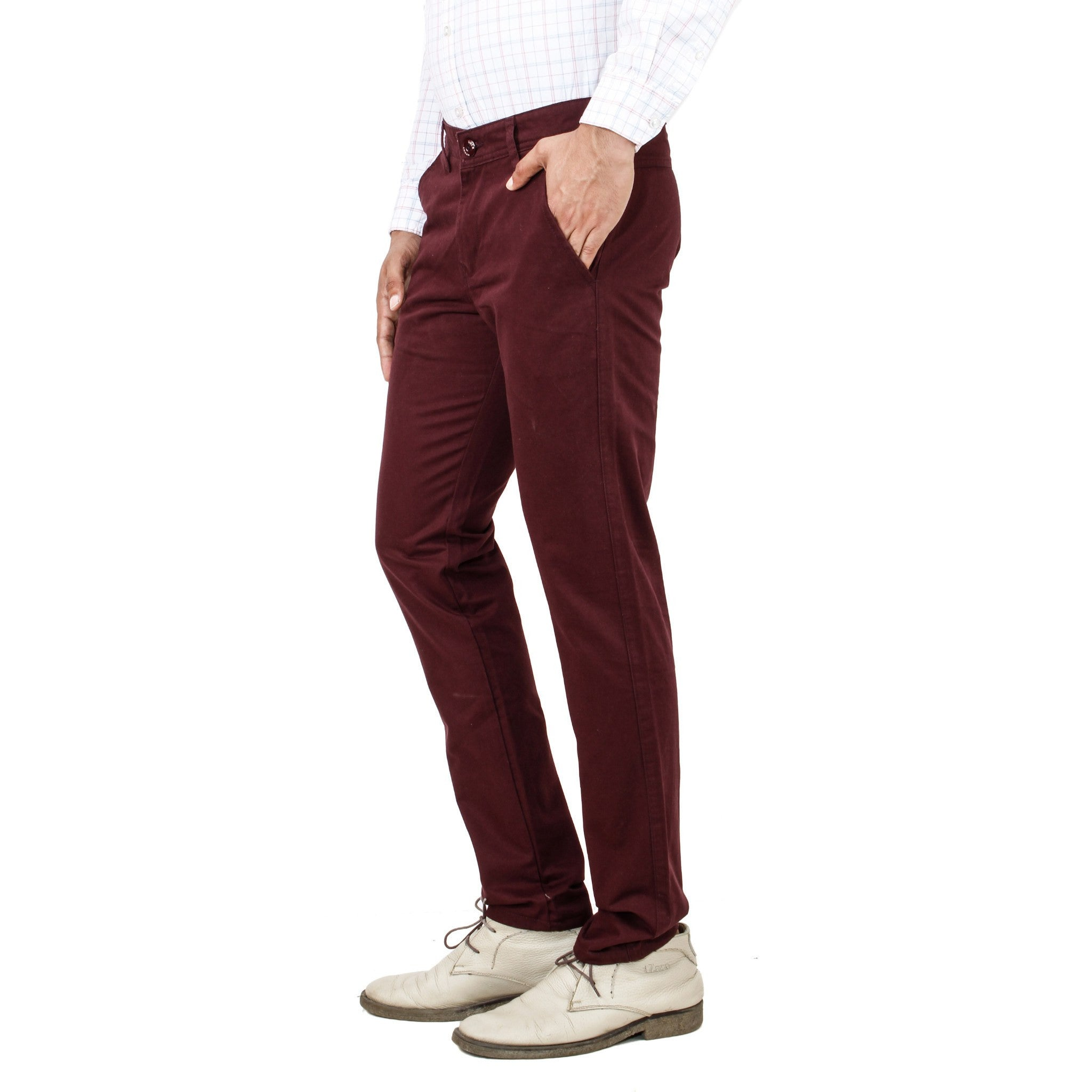 Uber Maroon Cotton Rocky Trouser side view