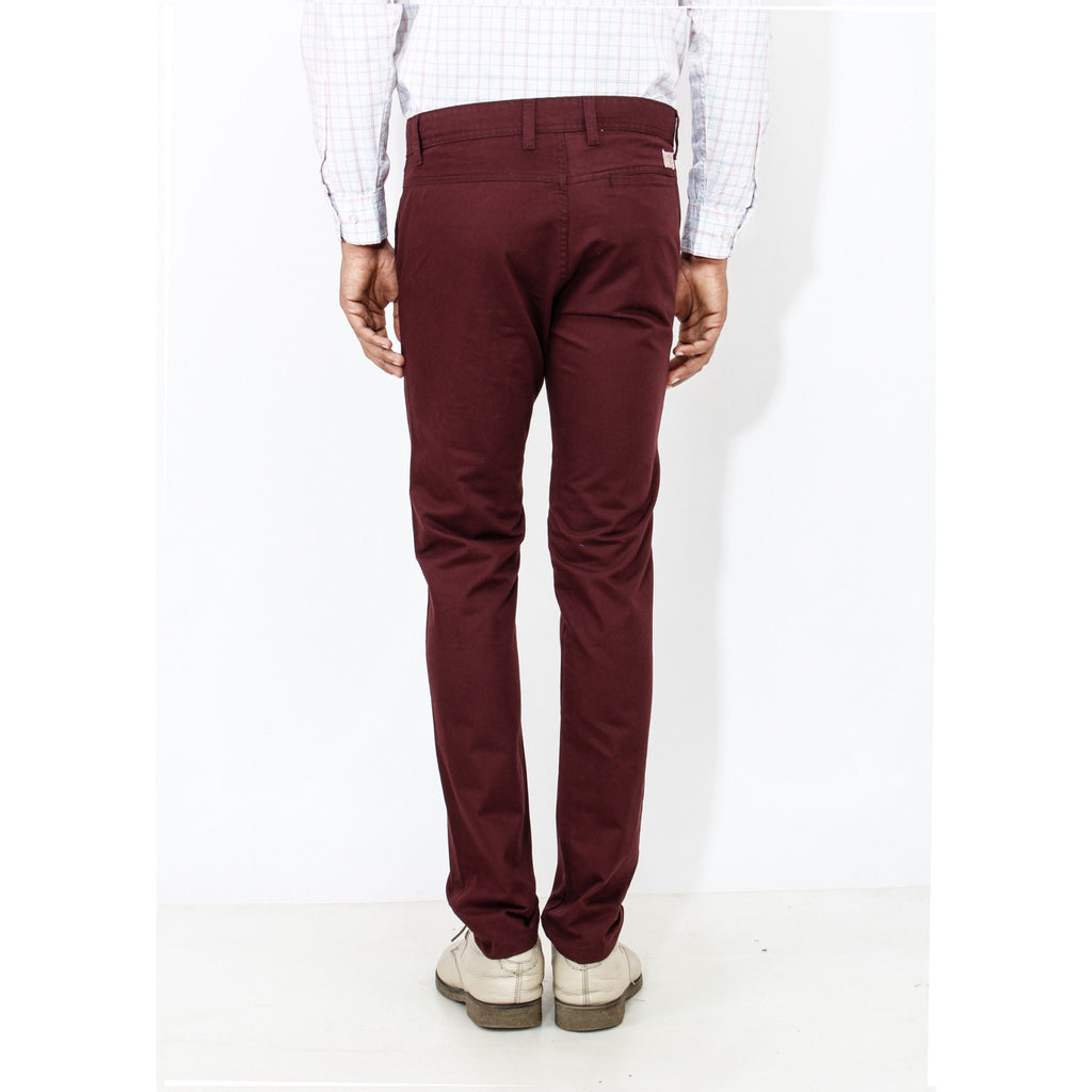 Uber Maroon Cotton Rocky Trouser back view