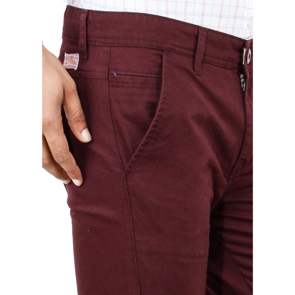 Uber Maroon Cotton Rocky Trouser close up view