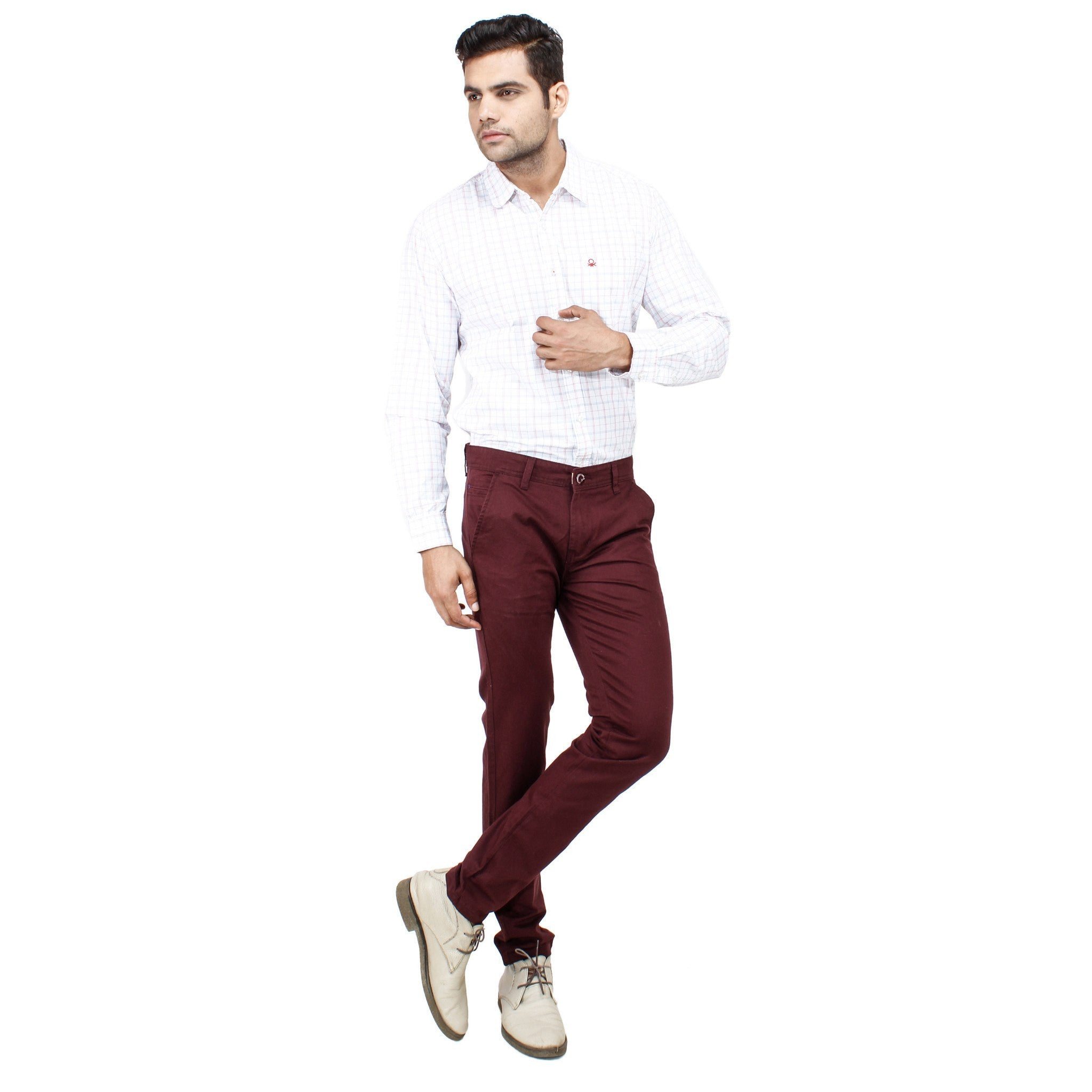 Uber Maroon Cotton Rocky Trouser full view