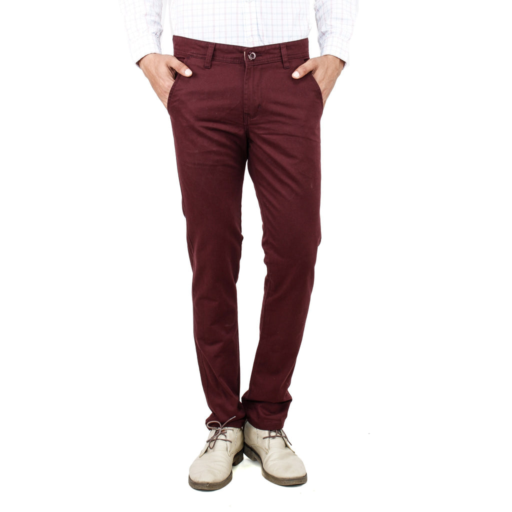 Uber Maroon Cotton Rocky Trouser front view
