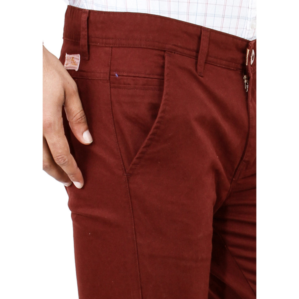 Maroon Rocky Trouser close up view