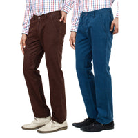 Regular Fit Chinos Pack of 2 Teal and Brown