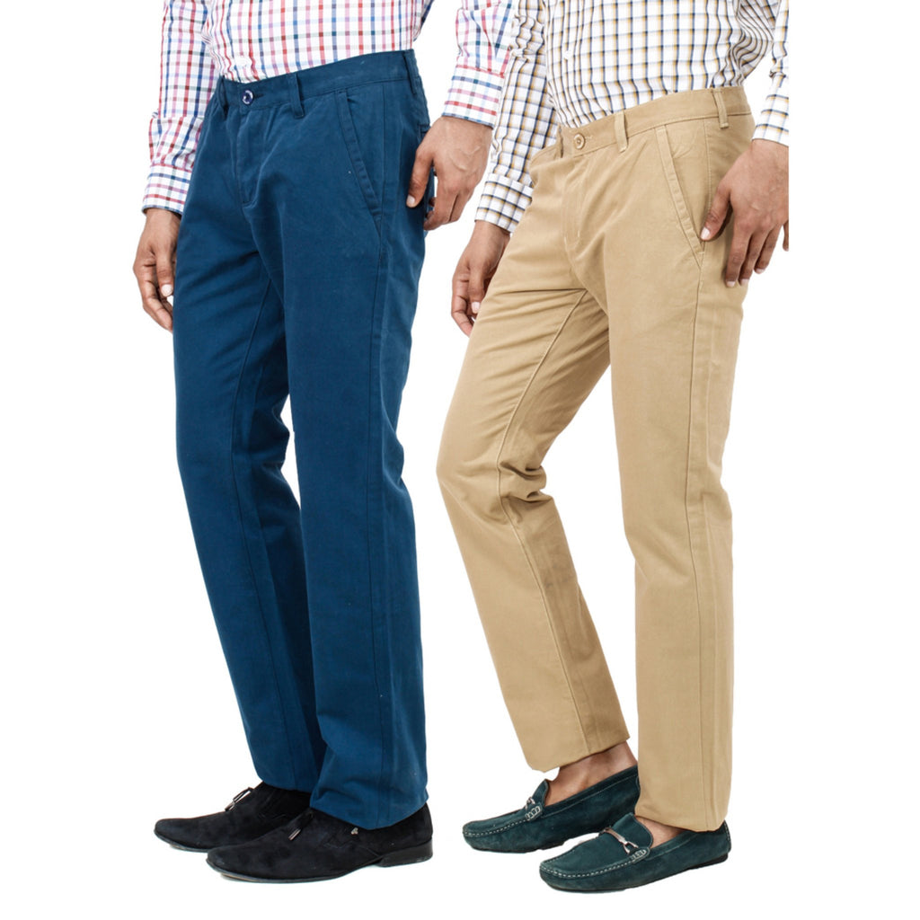Teal khaki chinos side view
