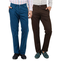 Teal brown chinos for men