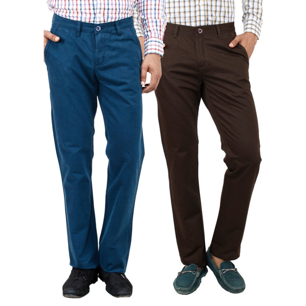 Teal brown chinos for men - uber-urban