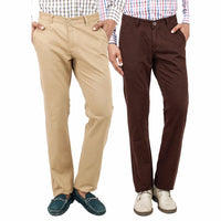 Regular Fit Cotton Chinos Pack of 2 Khakhi and Brown
