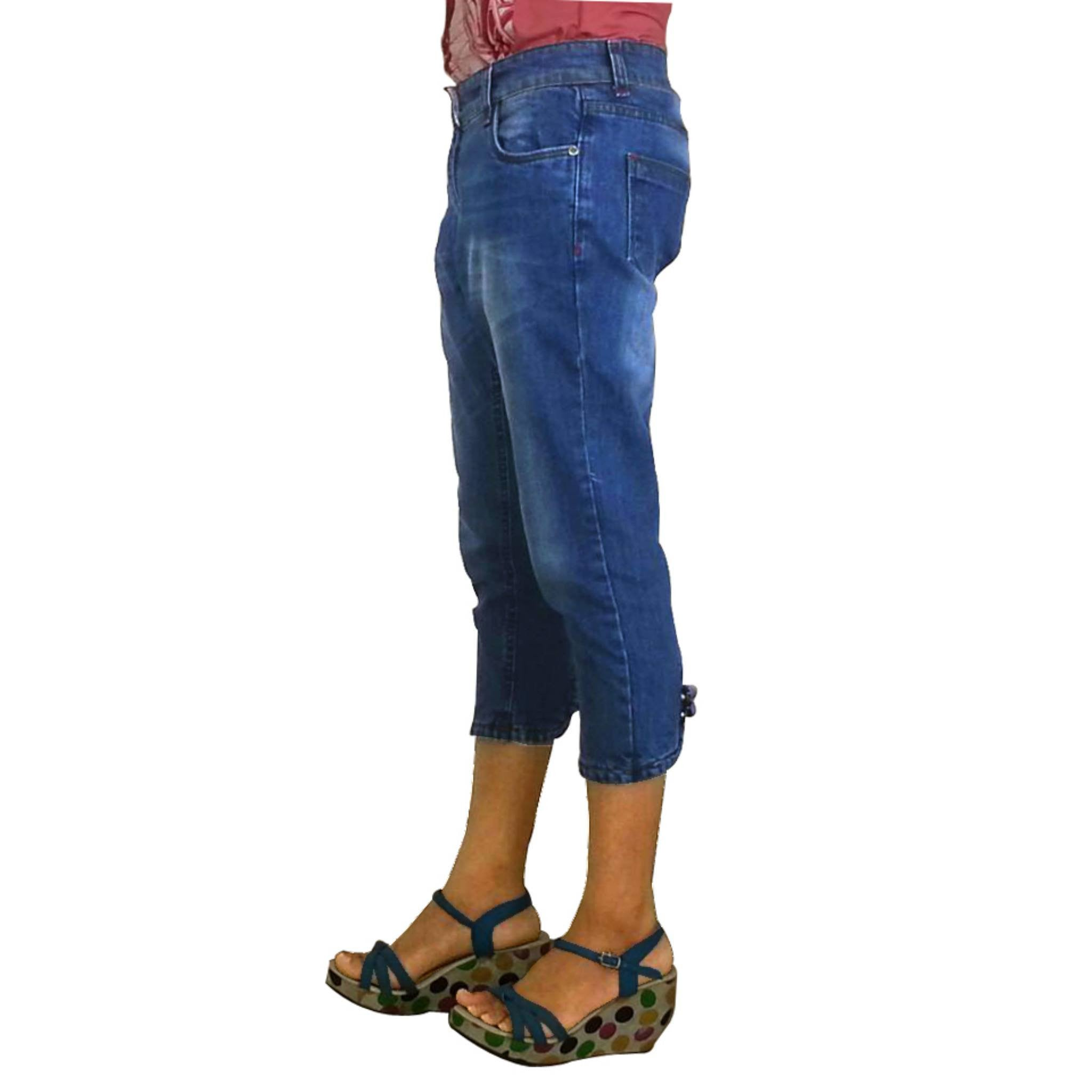 Uber Blue Denim Capri for women side view