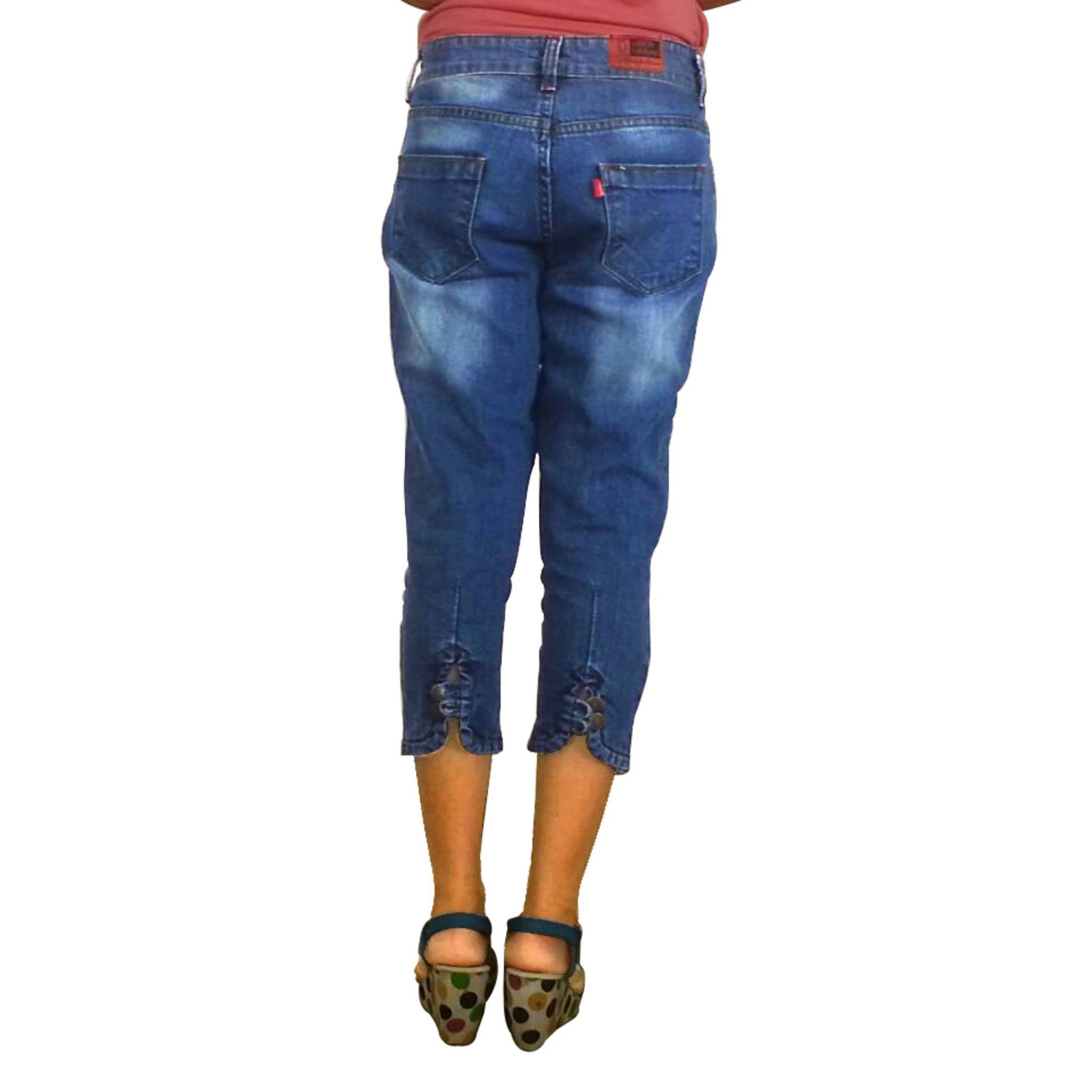 Uber Blue Denim Capri for women back view