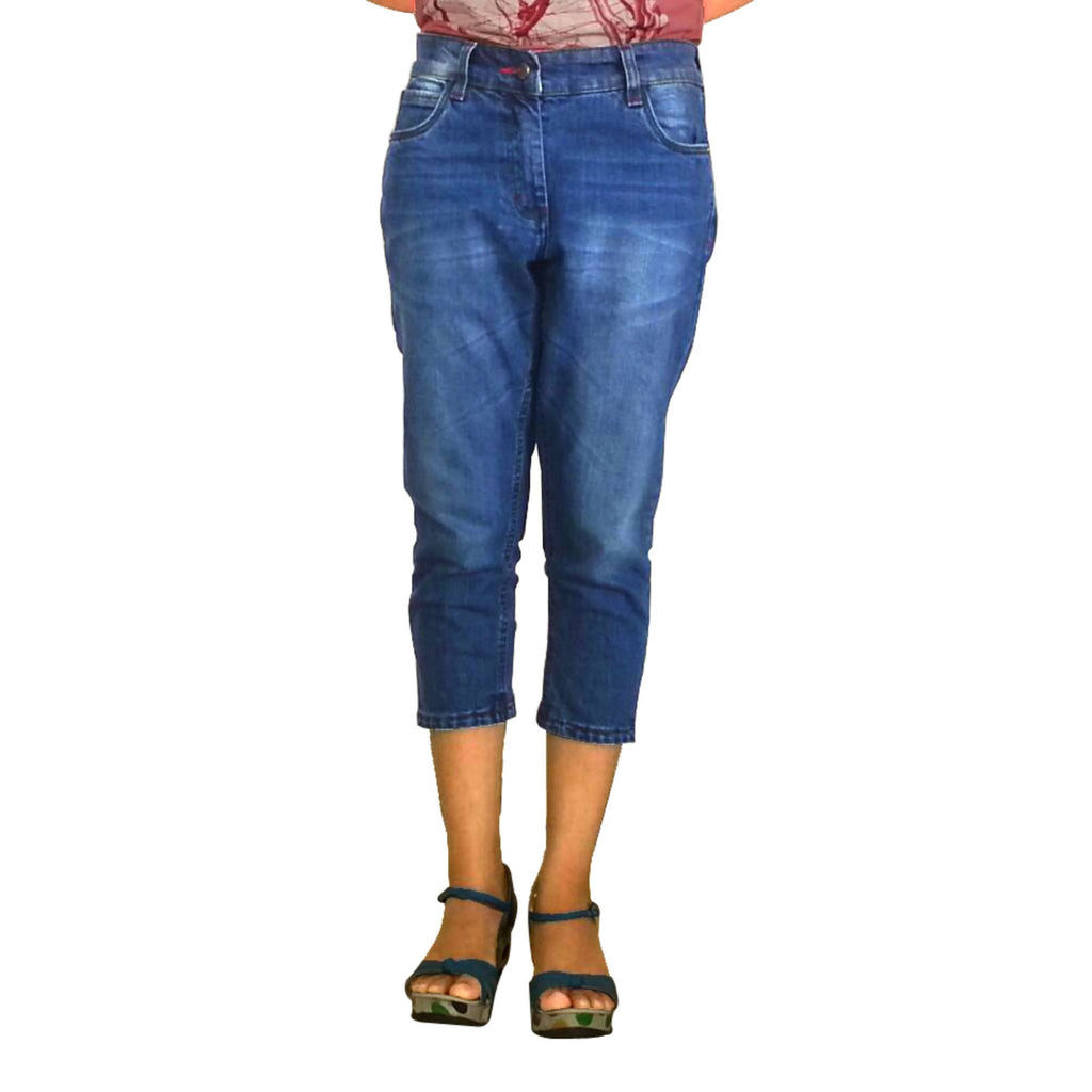 Uber Blue Denim Capri for women front view