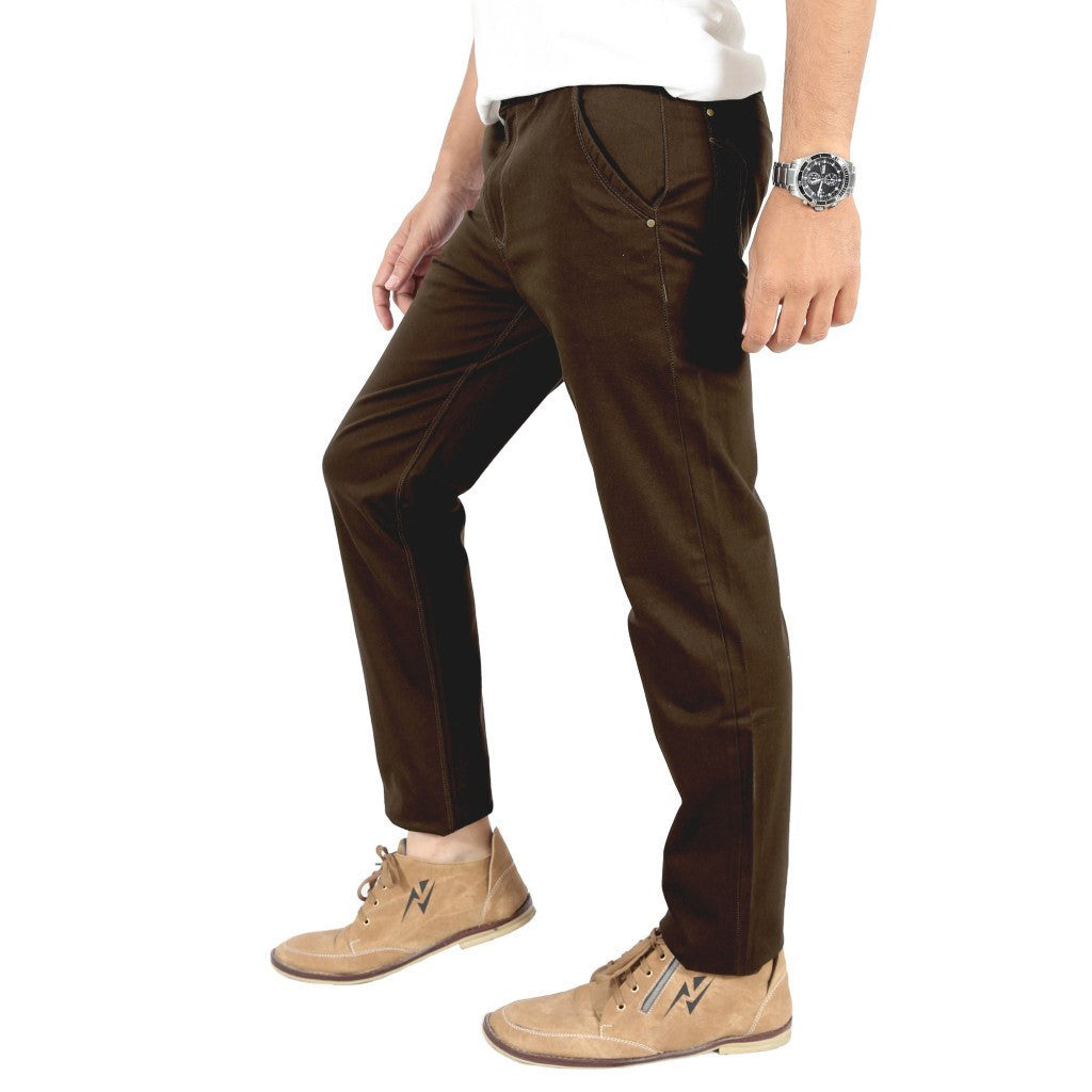 Uber Coffee Brown Cotton Twill Elastene Trouser side view
