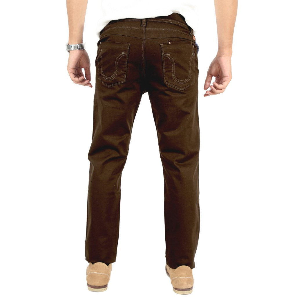 Uber Coffee Brown Cotton Twill Elastene Trouser back view