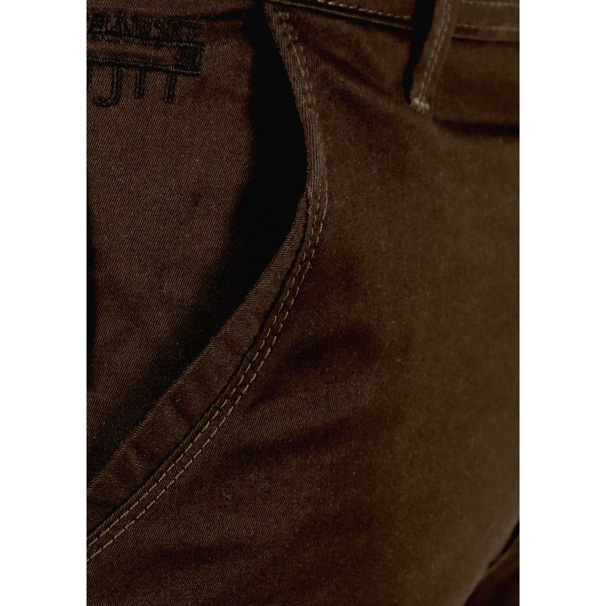 Uber Coffee Brown Cotton Twill Elastene Trouser close up view