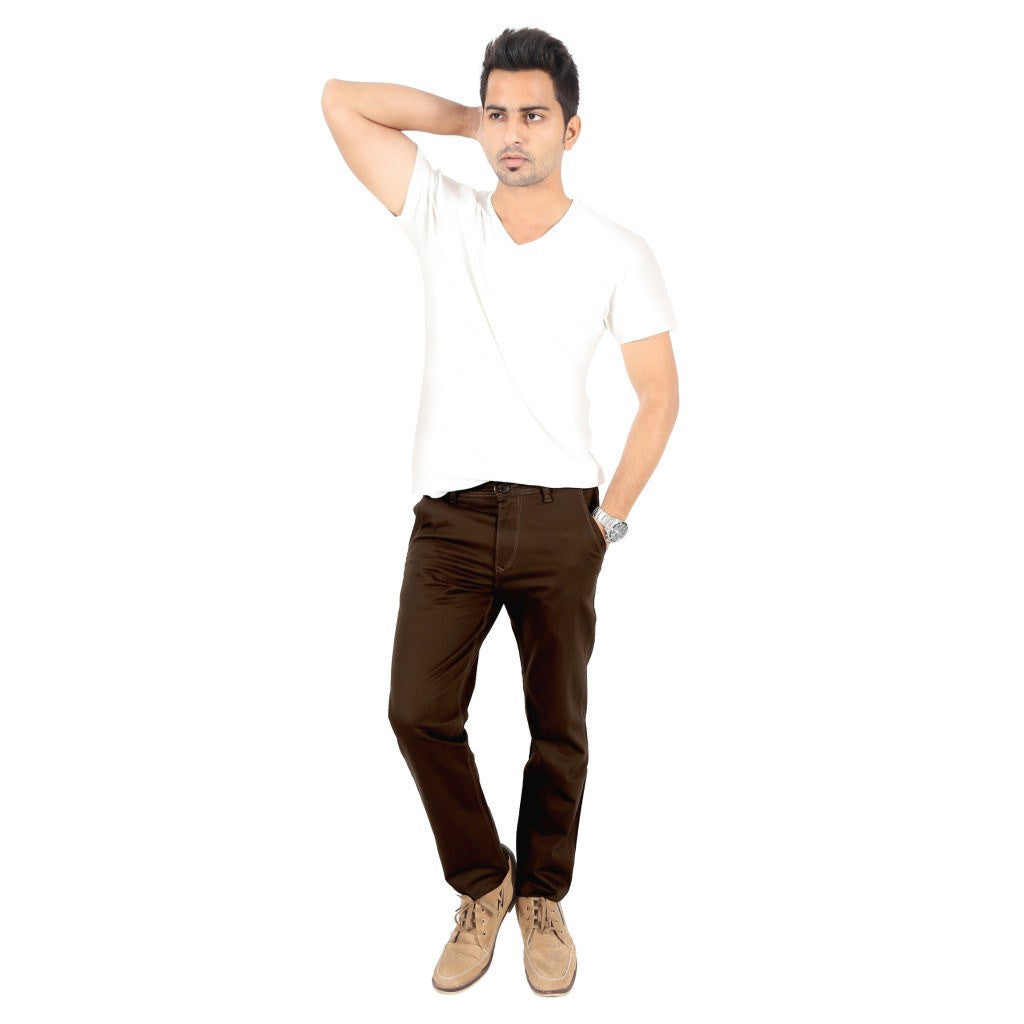 Uber Coffee Brown Cotton Twill Elastene Trouser full view