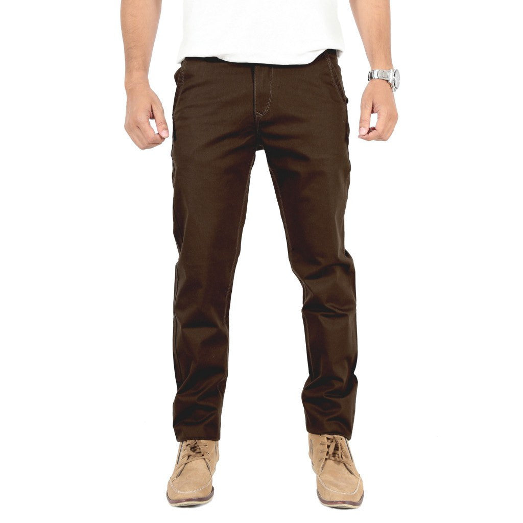 Uber Coffee Brown Cotton Twill Elastene Trouser front view