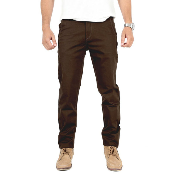 Coffee Brown Cotton Elastene Trouser - uber-urban
