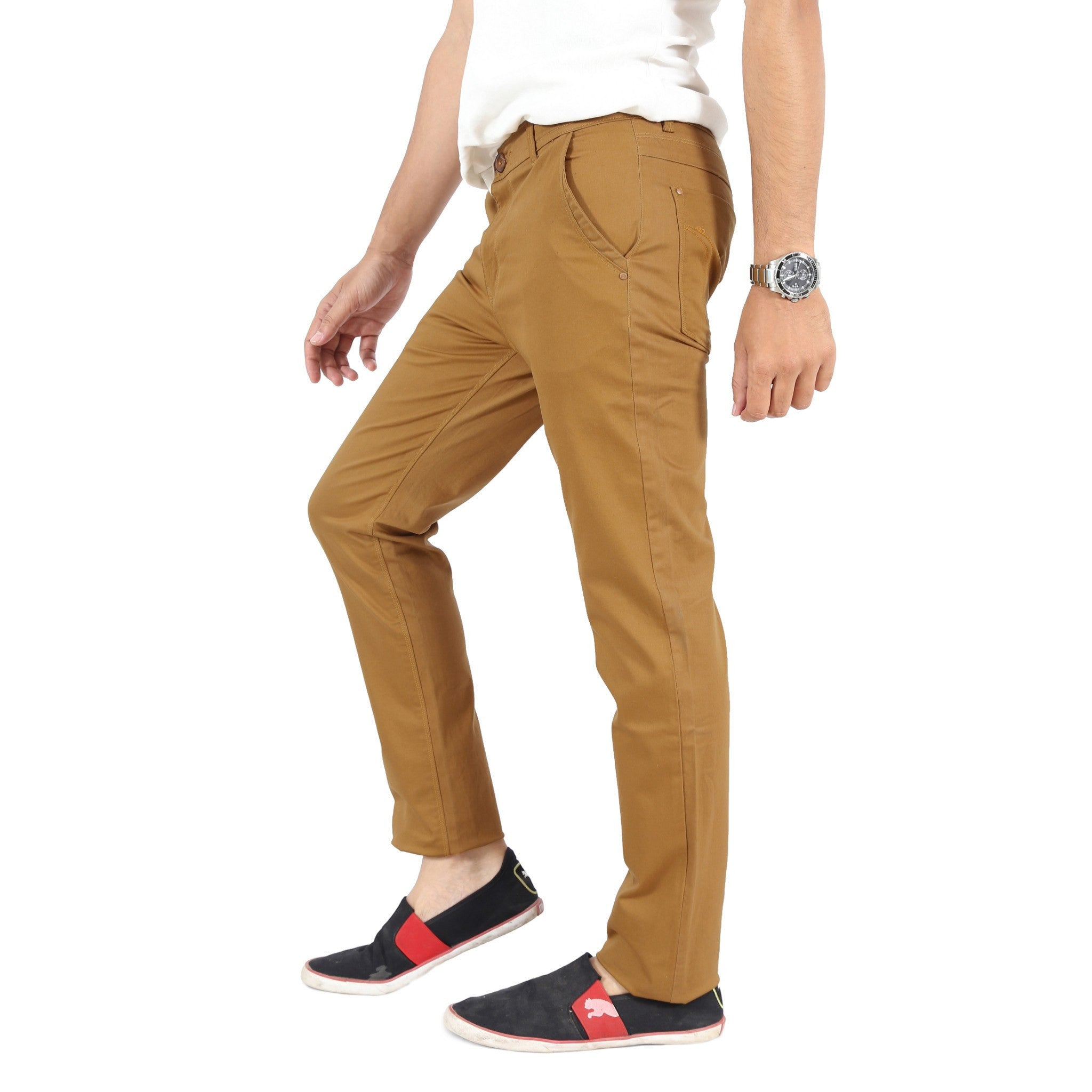 Uber Khaki Cotton Twill Elastene Trouser side view