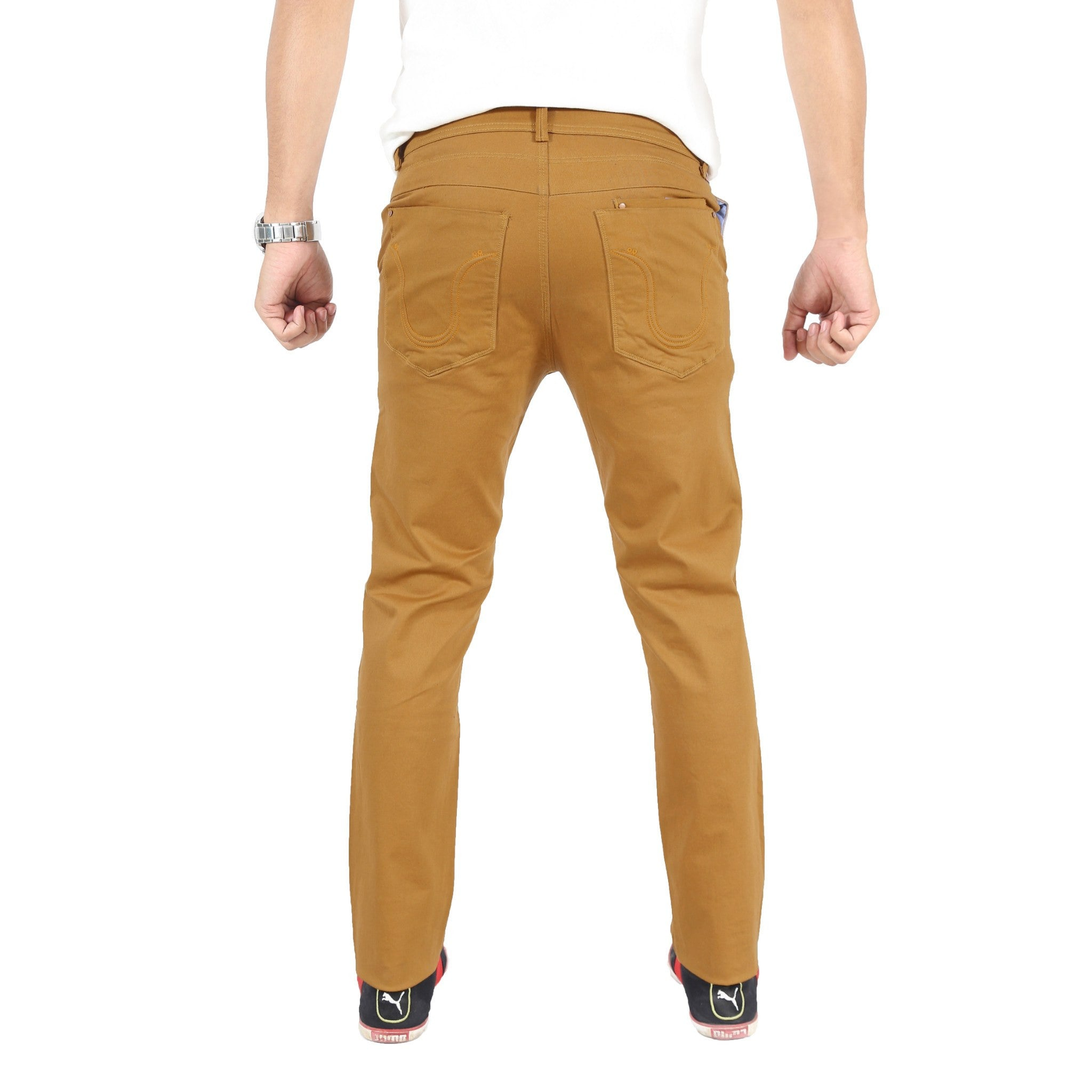 Uber Khaki Cotton Twill Elastene Trouser back view