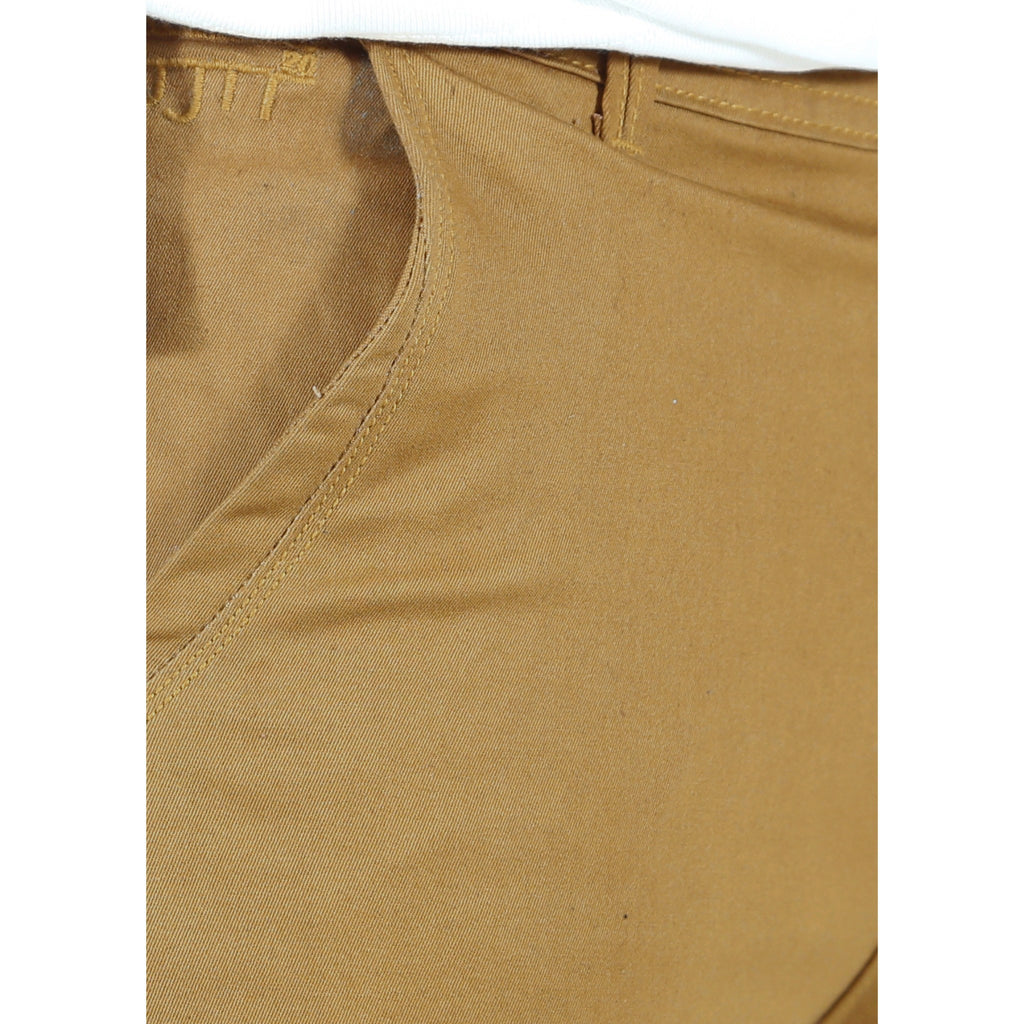 Uber Khaki Cotton Twill Elastene Trouser close up view