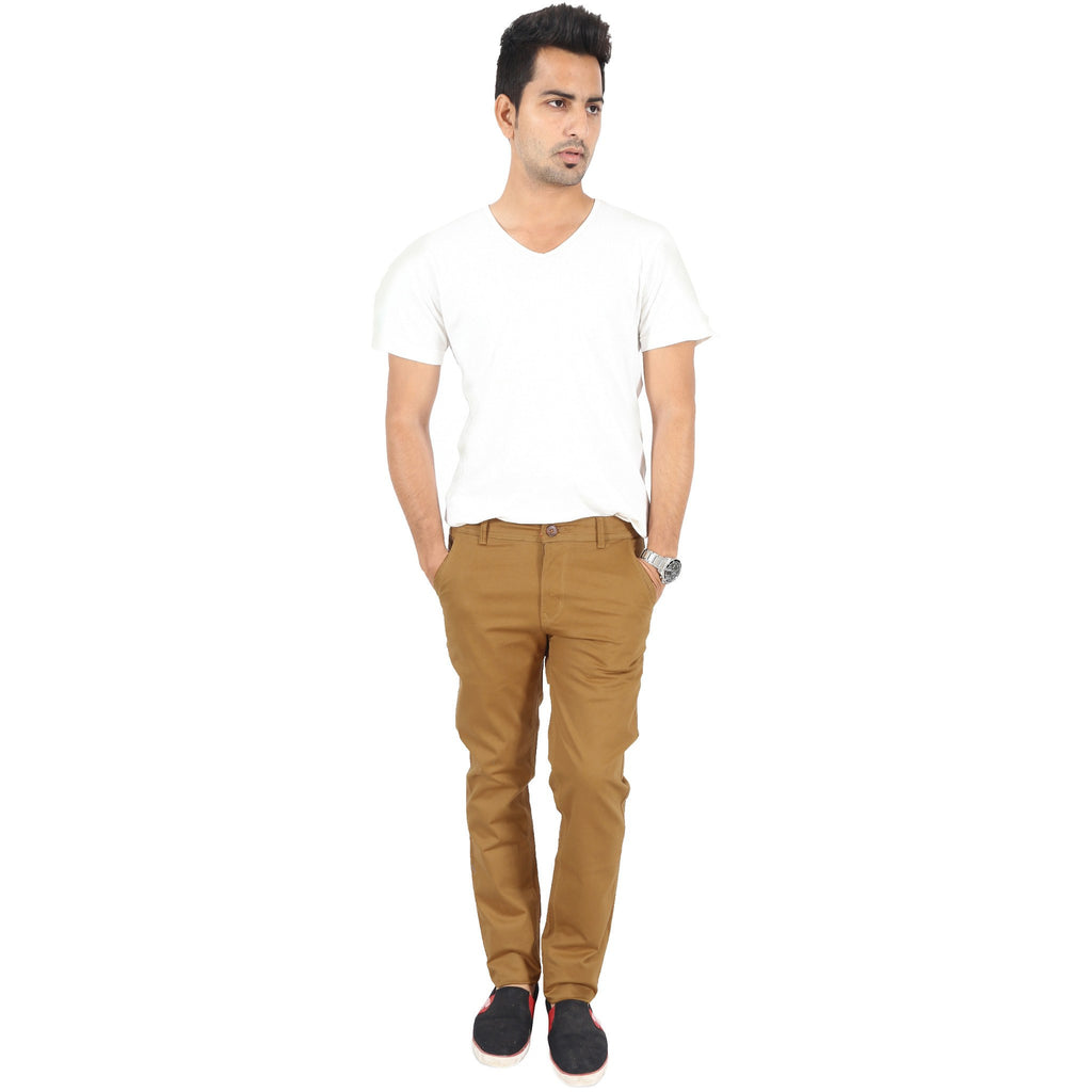 Uber Khaki Cotton Twill Elastene Trouser full view