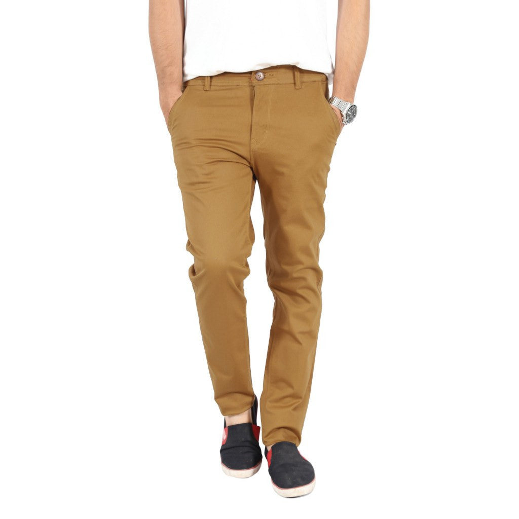 Uber Khaki Cotton Twill Elastene Trouser front view