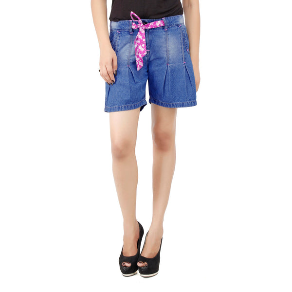 Blue Alia Denim Shorts - uber-urban
