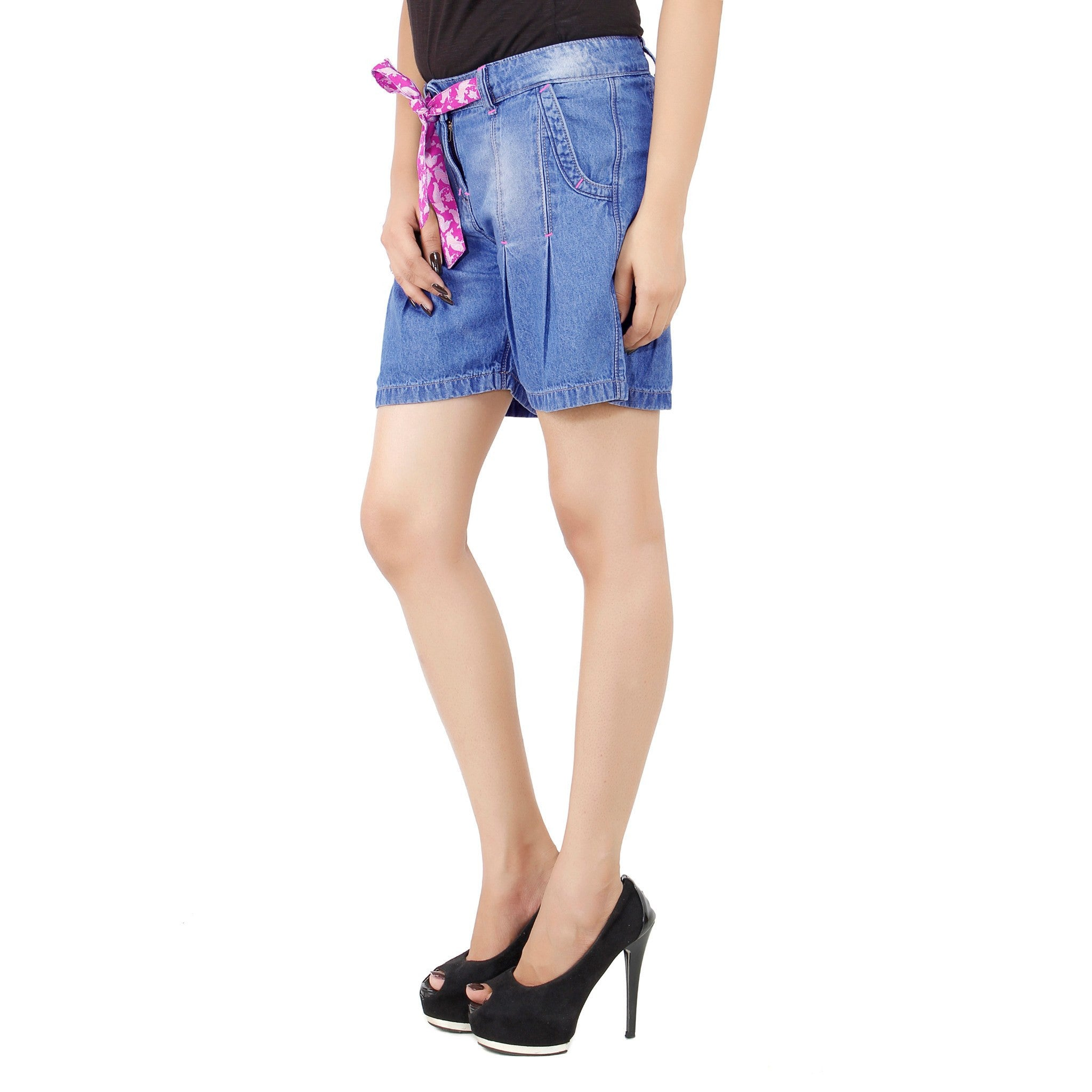 Cornflower Blue Denim Short For Women left side view