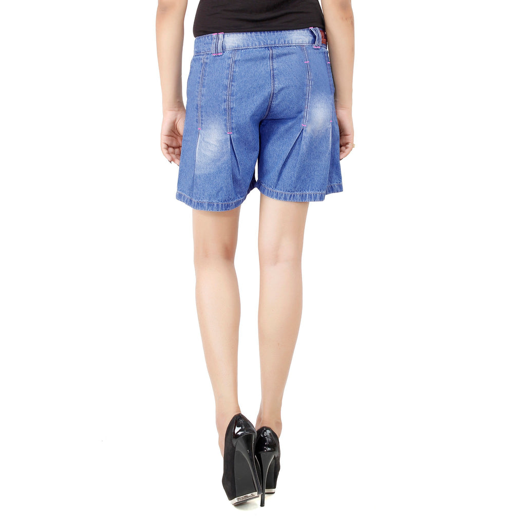 Cornflower Blue Denim Short For Women back view