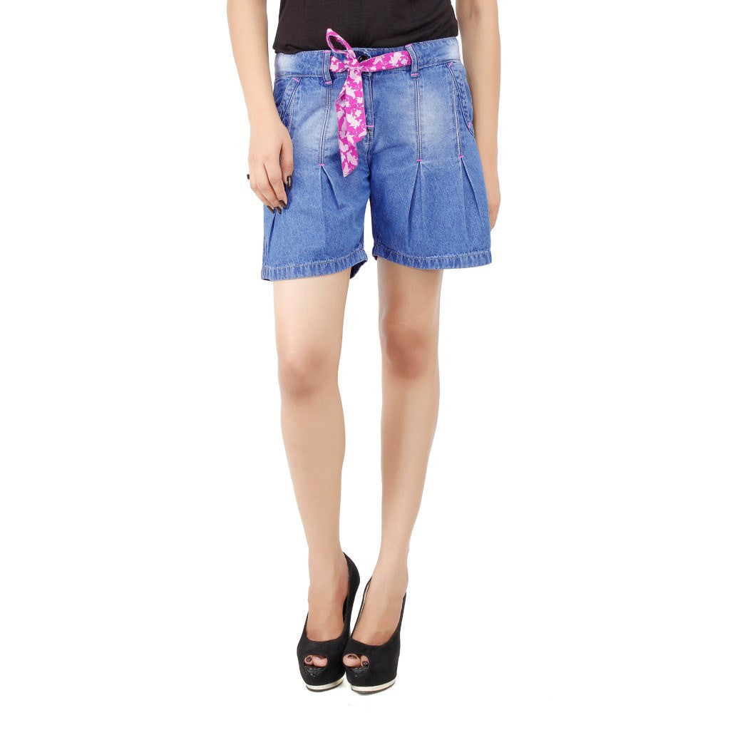 Cornflower Blue Denim Short For Women front view