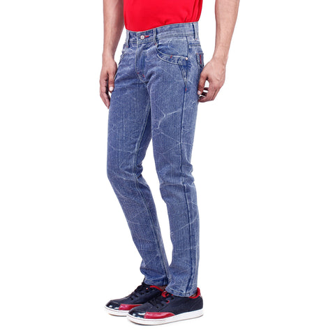 Uber Ash Blue Cotton Denim Jeans side view