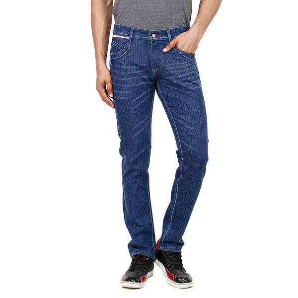 Stripped Blue Denim Jeans front view