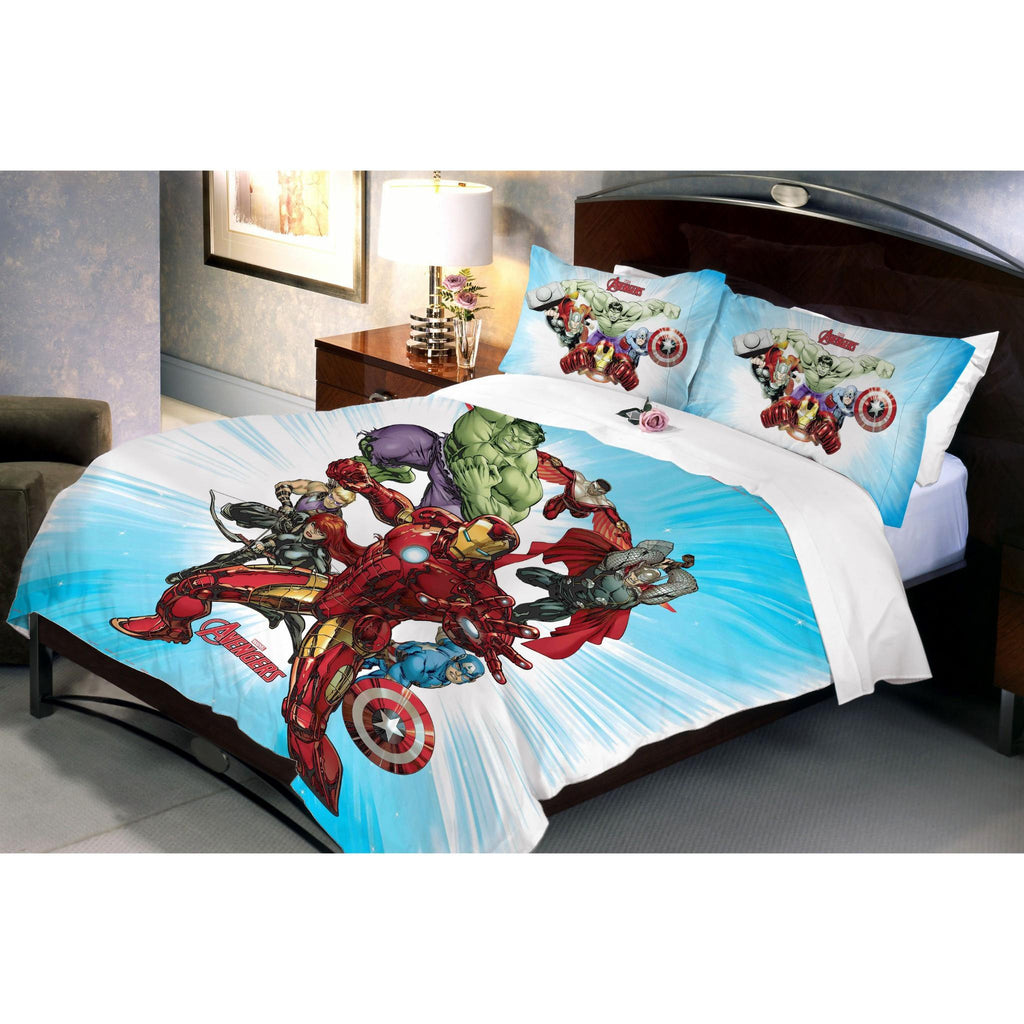 Avenger Fighters Queen Size Bedsheet With 2 Pillow Covers - Über Urban Marvel