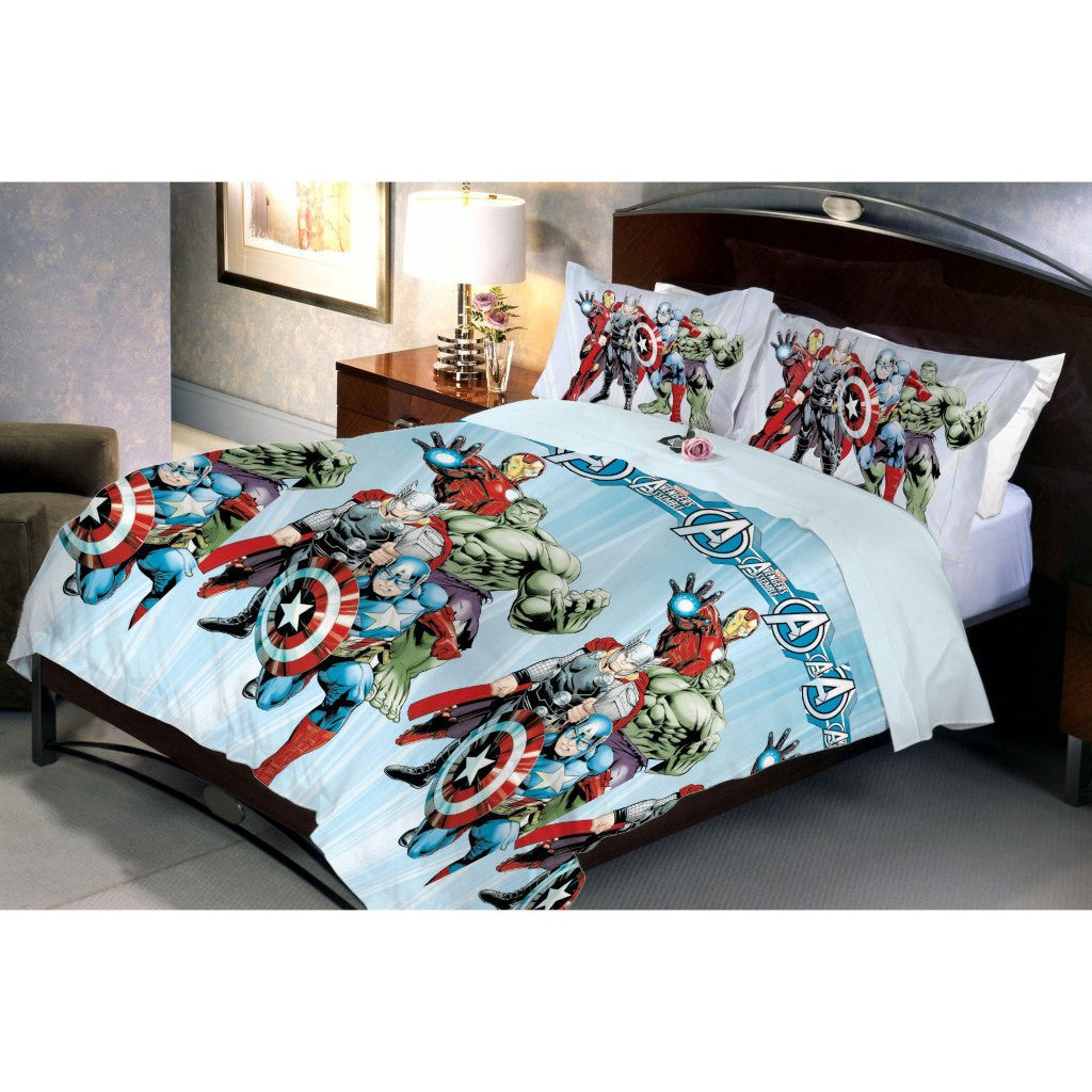 Avenger Fighter Bed Sheet And Pillow Covers (Queen) Side View
