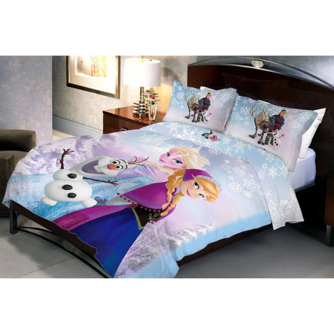 Frozen Family Double Bed Sheet And Pillow Covers