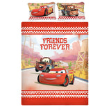Disney Cars Lightning McQueen Cotton Double Bedsheet With 2 Pillow Covers