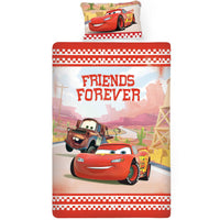 Disney Cars Lightning McQueen Friends Forever Single Bed Sheet And Pillow Cover