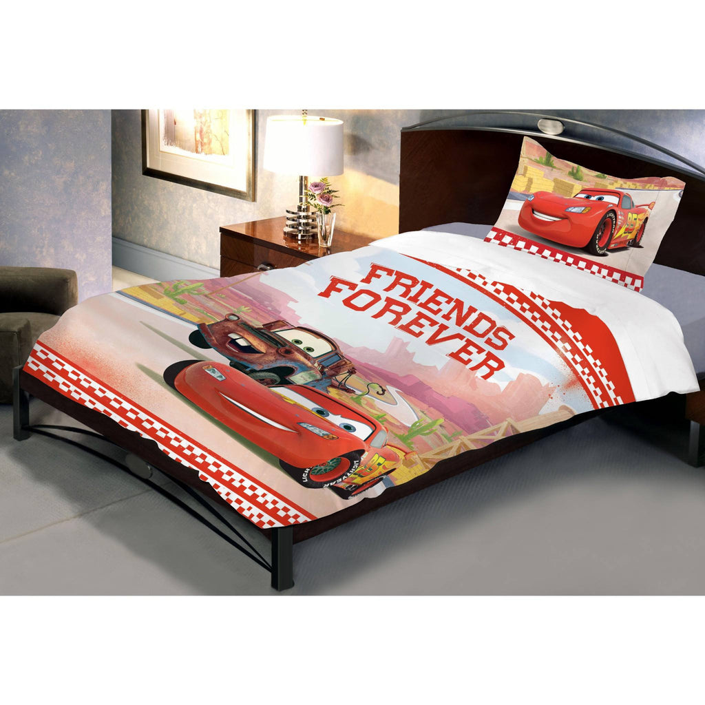 Lightning McQueen Friends Forever Single Bed Sheet And Pillow Cover - Über Urban Bedsheet