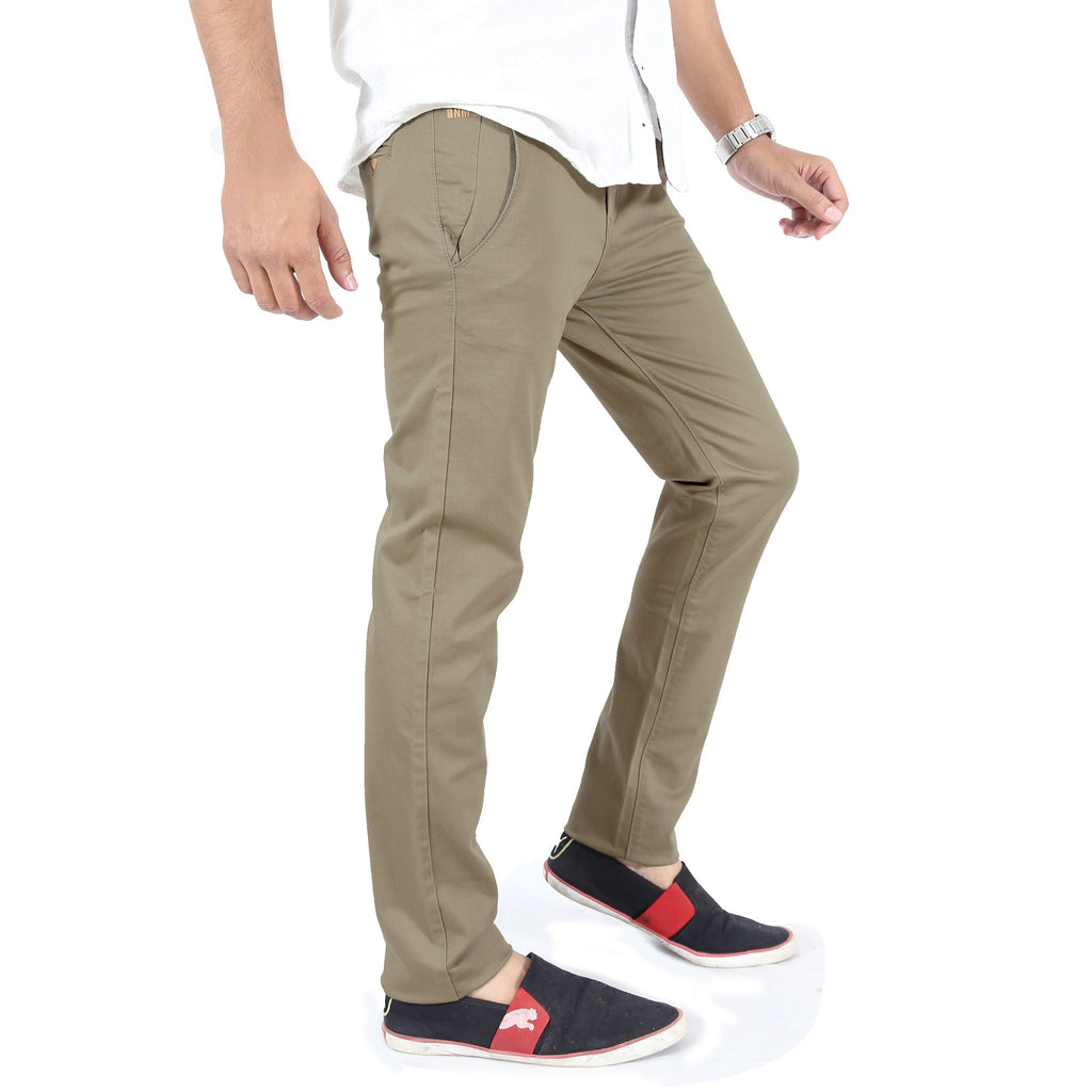 Khaki Gray Cotton Twill Elastene Trouser side view