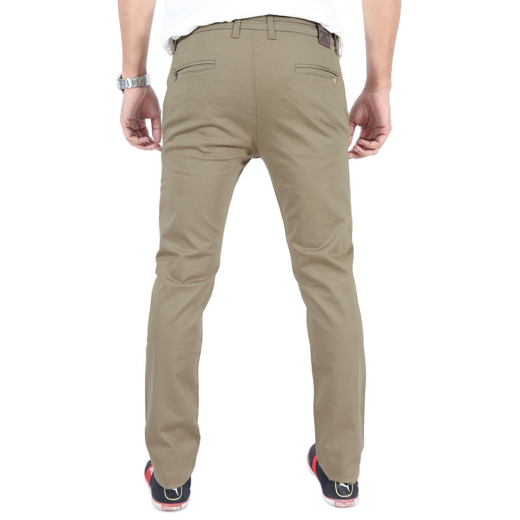 Khaki Gray Cotton Twill Elastene Trouser back view