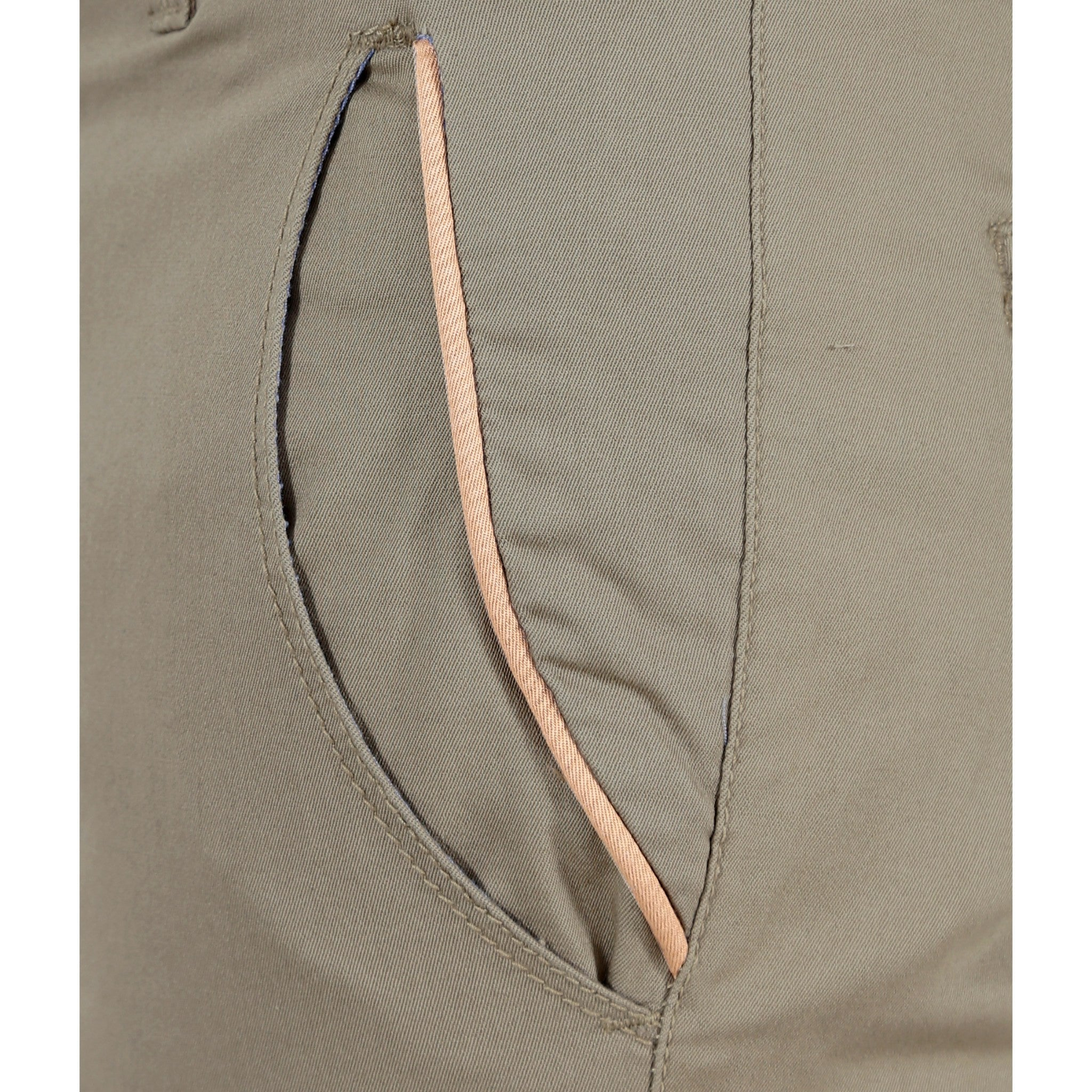 Khaki Gray Cotton Twill Elastene Trouser close up view