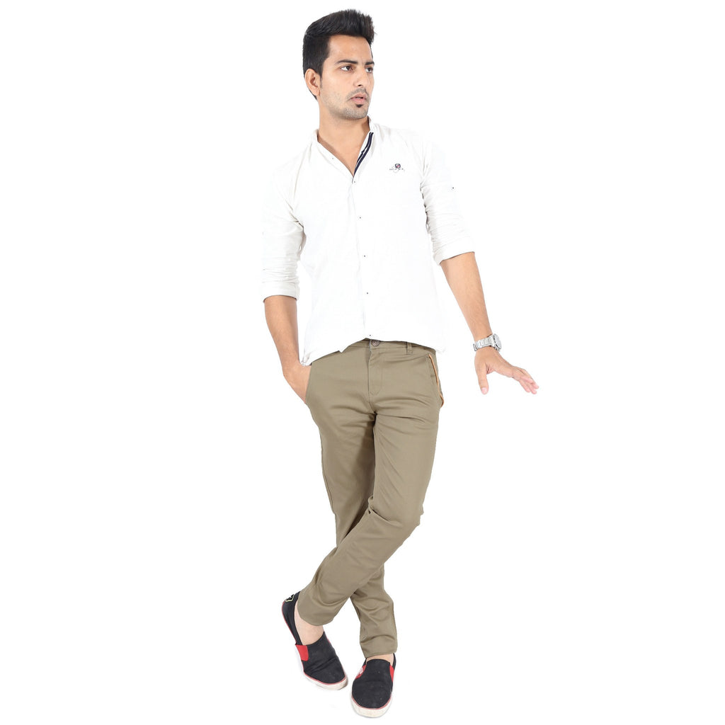 Khaki Gray Cotton Twill Elastene Trouser full view