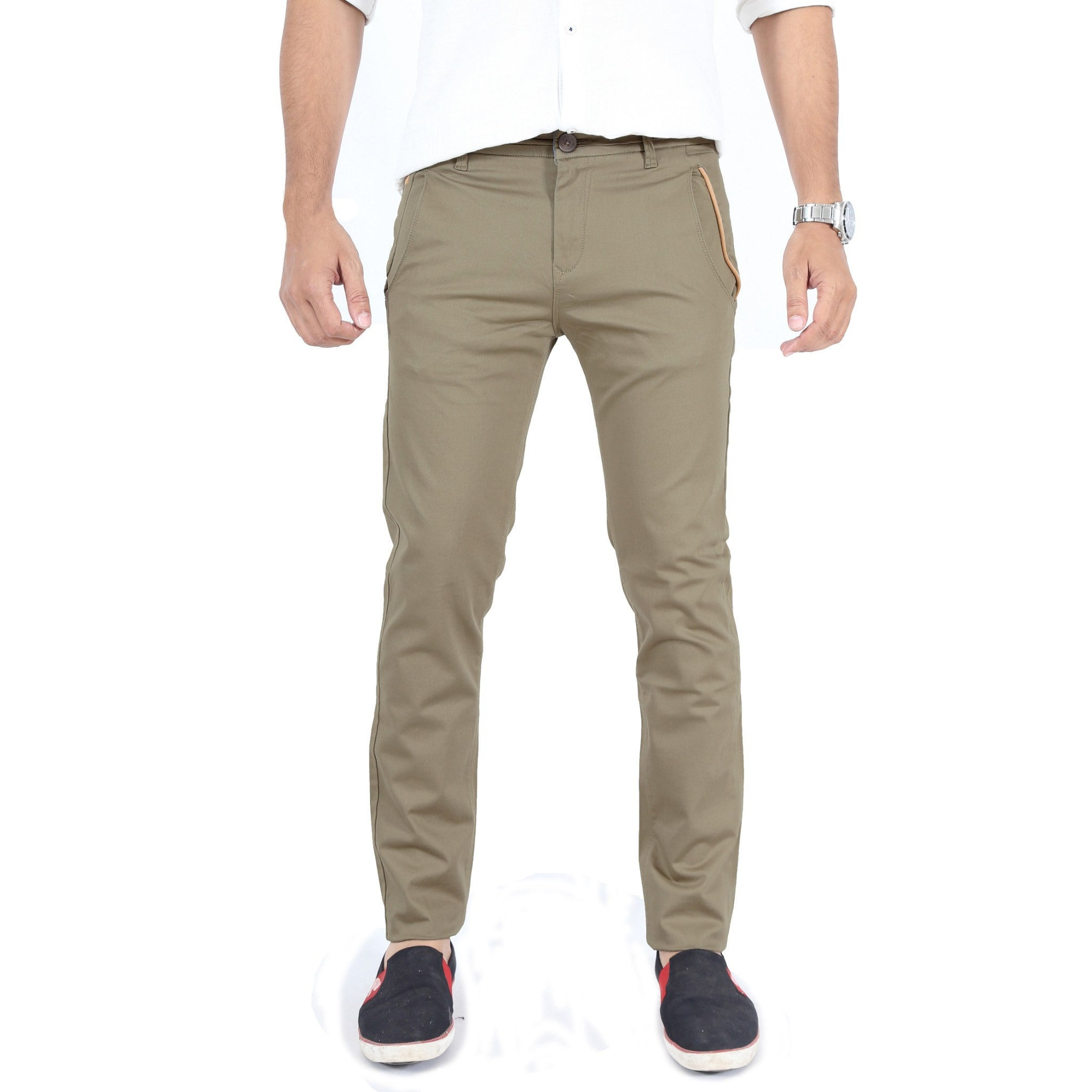Khaki Gray Cotton Twill Elastene Trouser front view