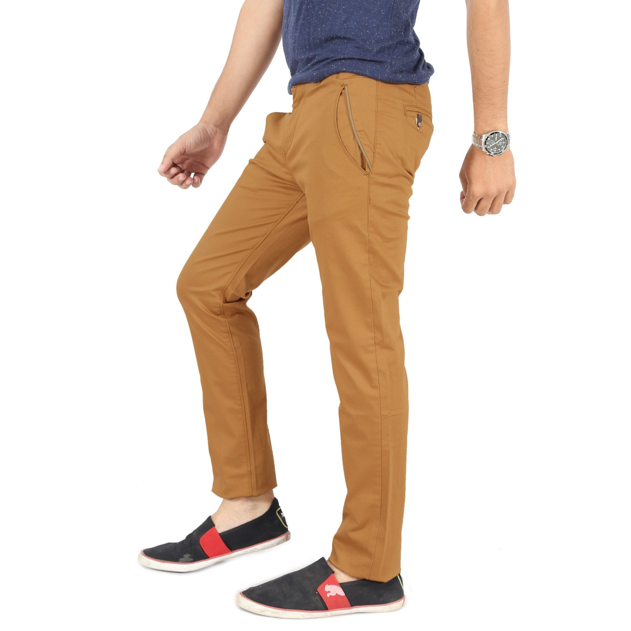 Uber Golden Brown Cotton Twill Elastene Trouser left side view