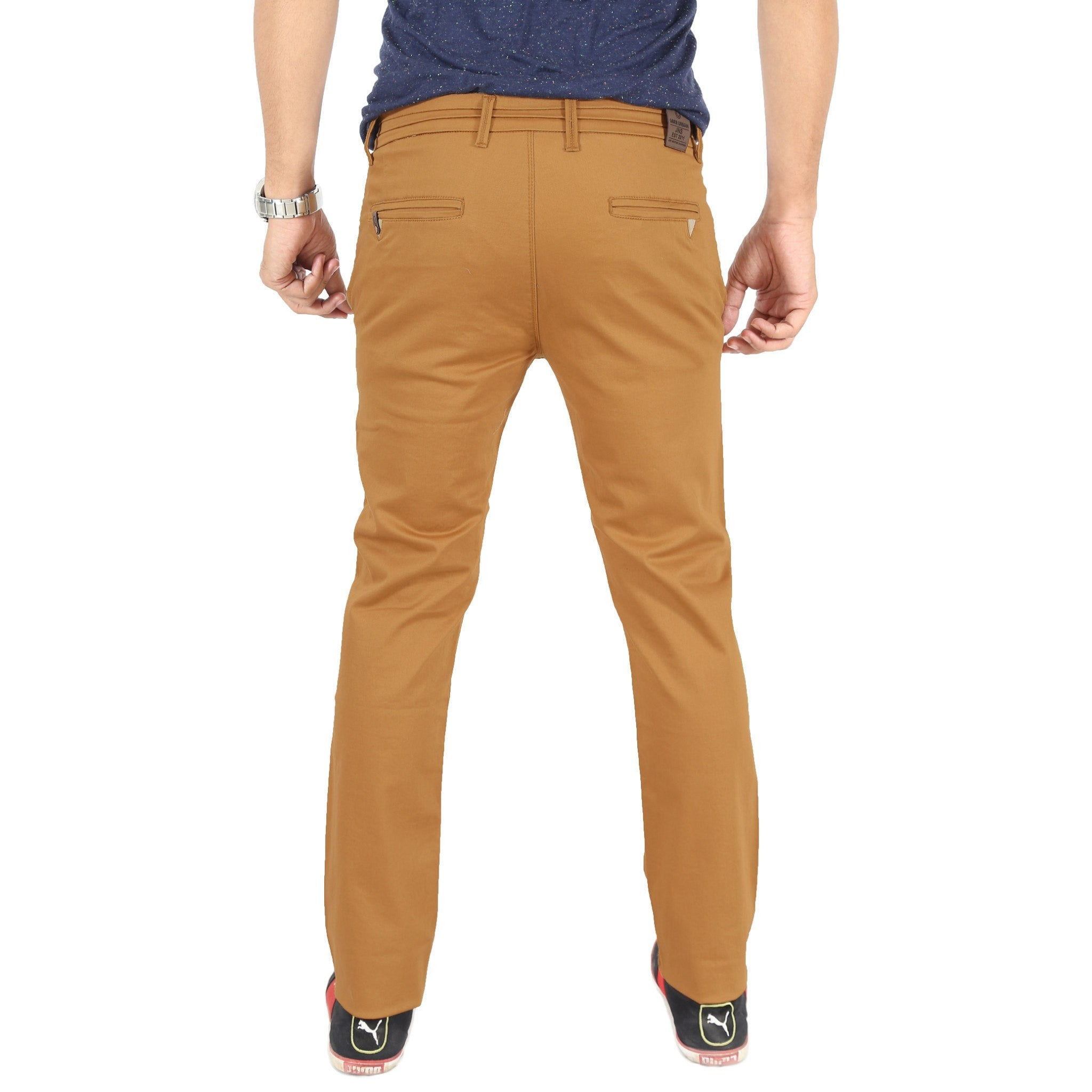 Uber Golden Brown Cotton Twill Elastene Trouser back view