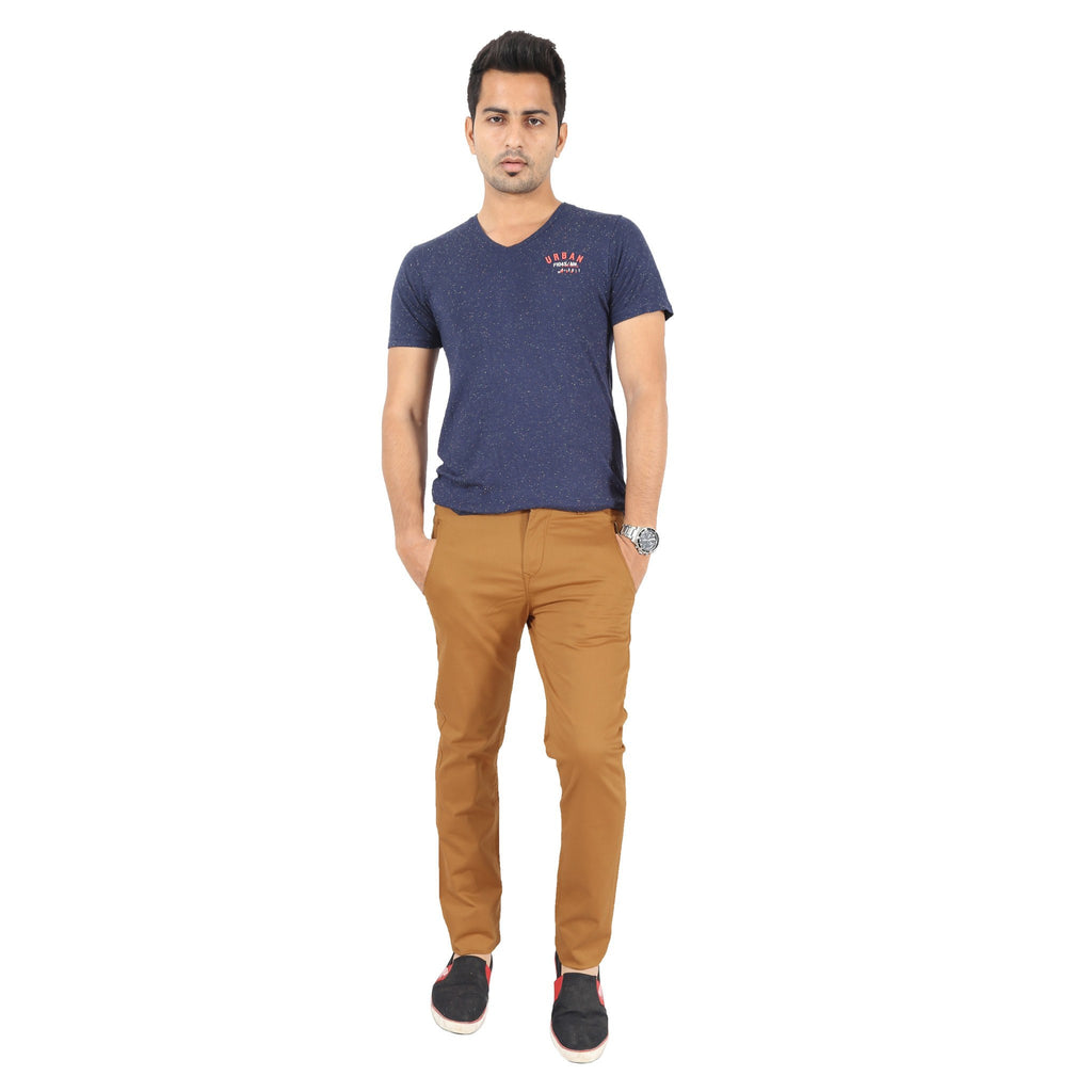 Uber Golden Brown Cotton Twill Elastene Trouser full view